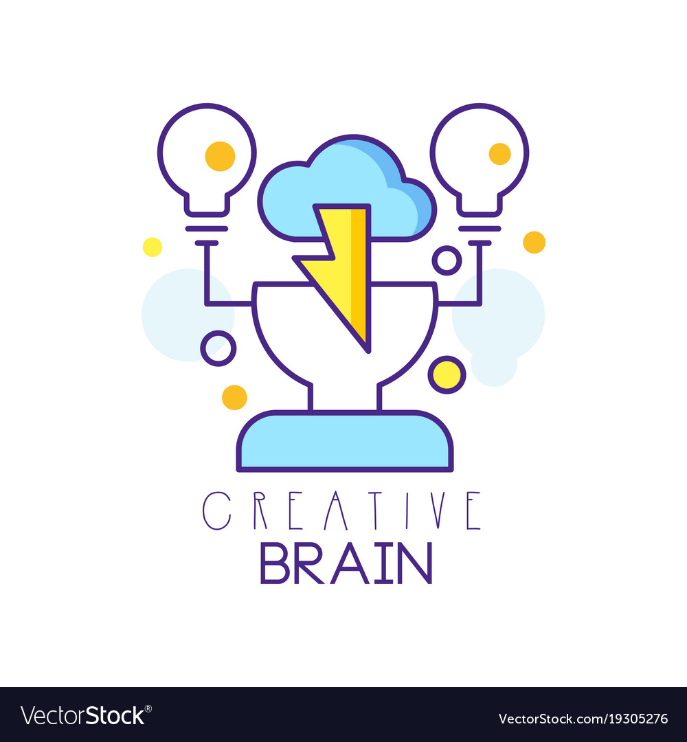 Colorful linear logo design with human head cloud
