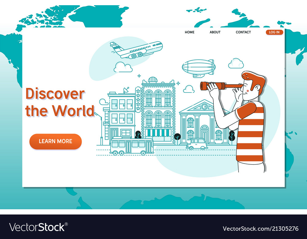Creative website template of discover the world