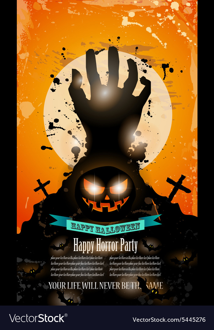 Halloween Party Flyer with creepy colorful