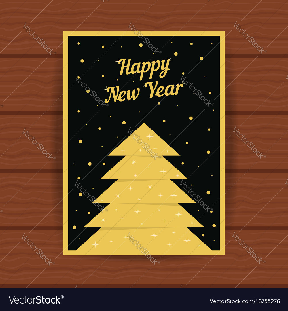 Happy new year with golden greeting card