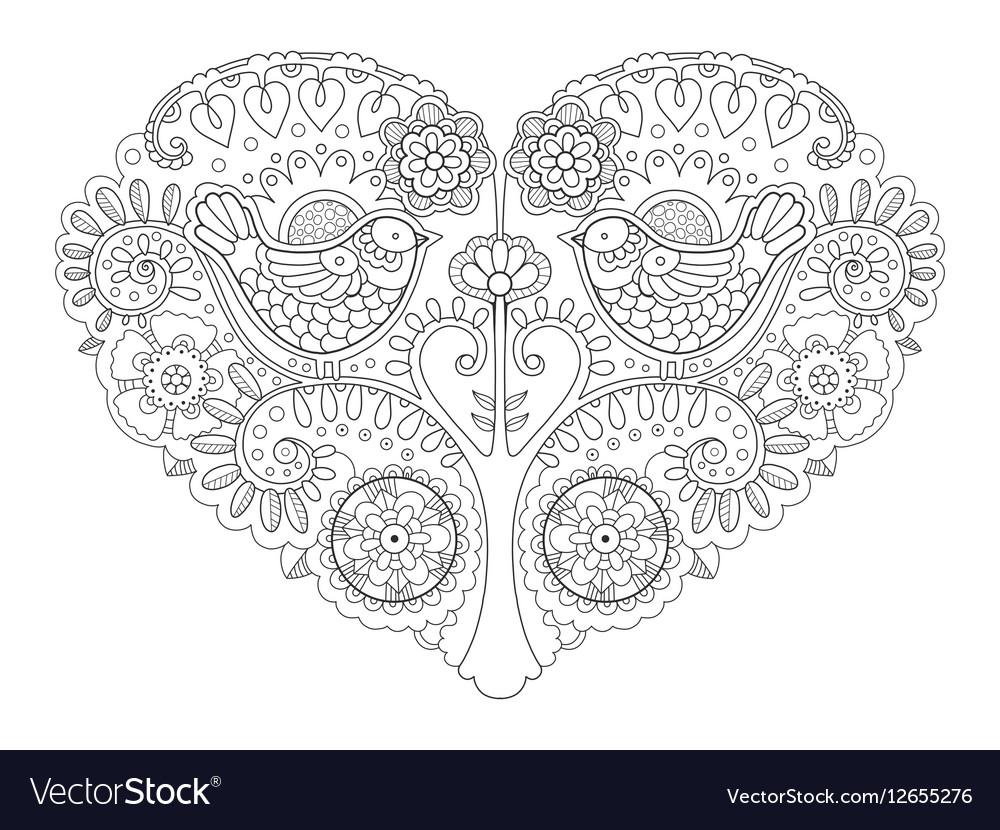 Heart design coloring book vector image