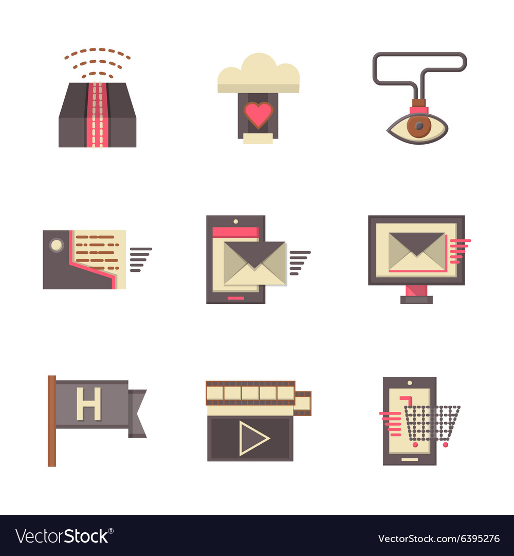 Internet support flat color icons set vector image