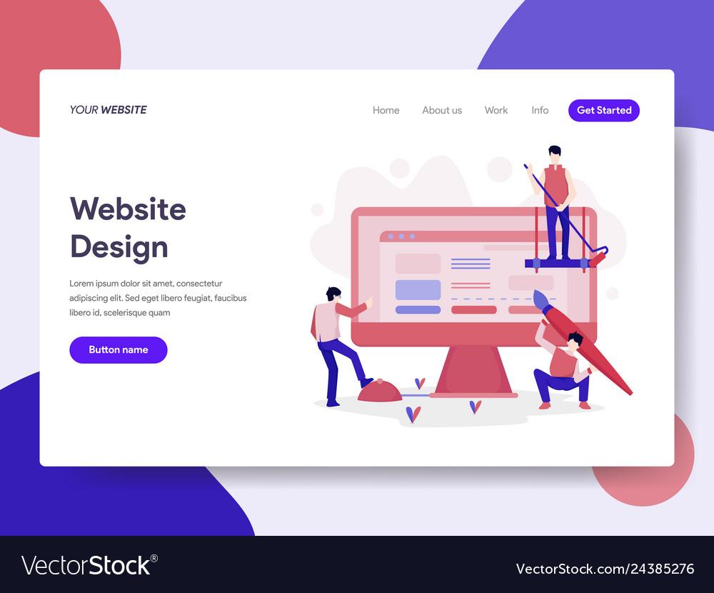 Landing page template of website design concept