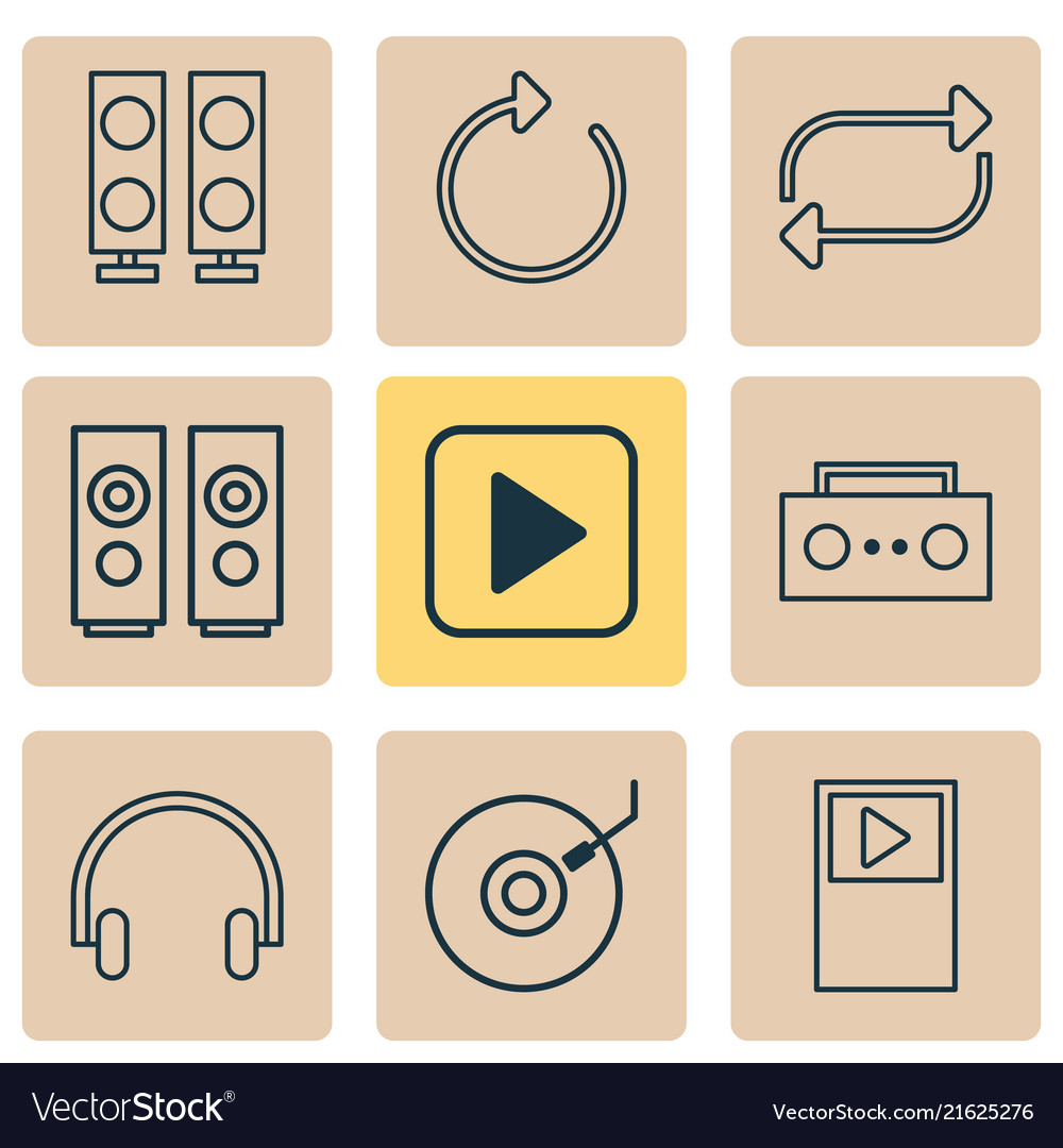 Music icons set with musical device dj disc