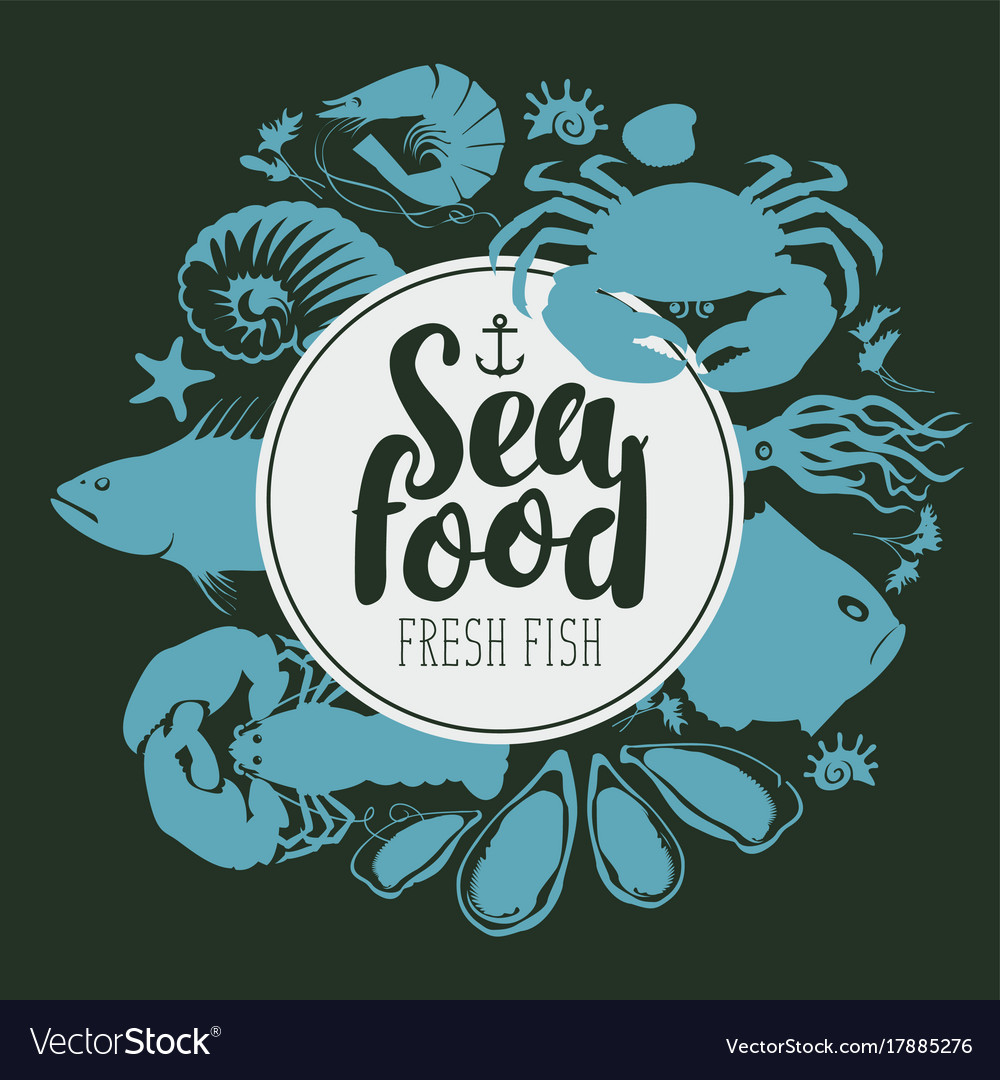 Seafood emblem with silhouettes sea inhabitants