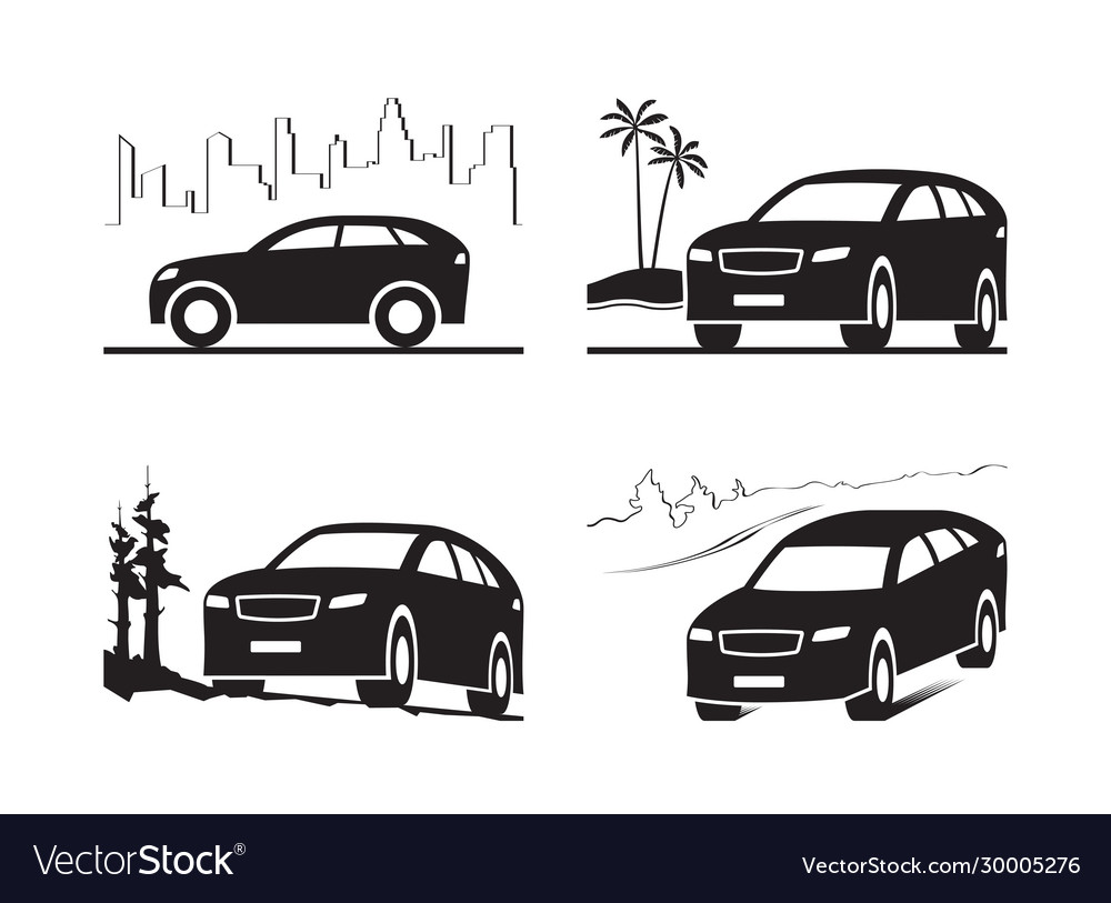 Sport utility vehicle in different landscapes