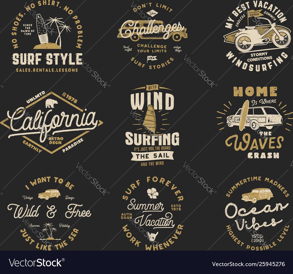 Vintage surfing graphics set and emblems for web