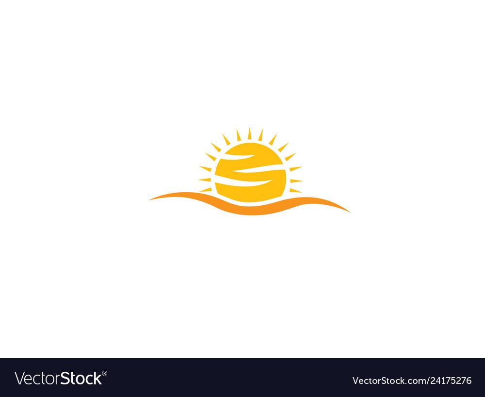 Yellow big bright and shiny sun sunrise for logo