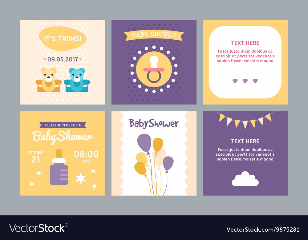 A set of templates for baby shower invitation and