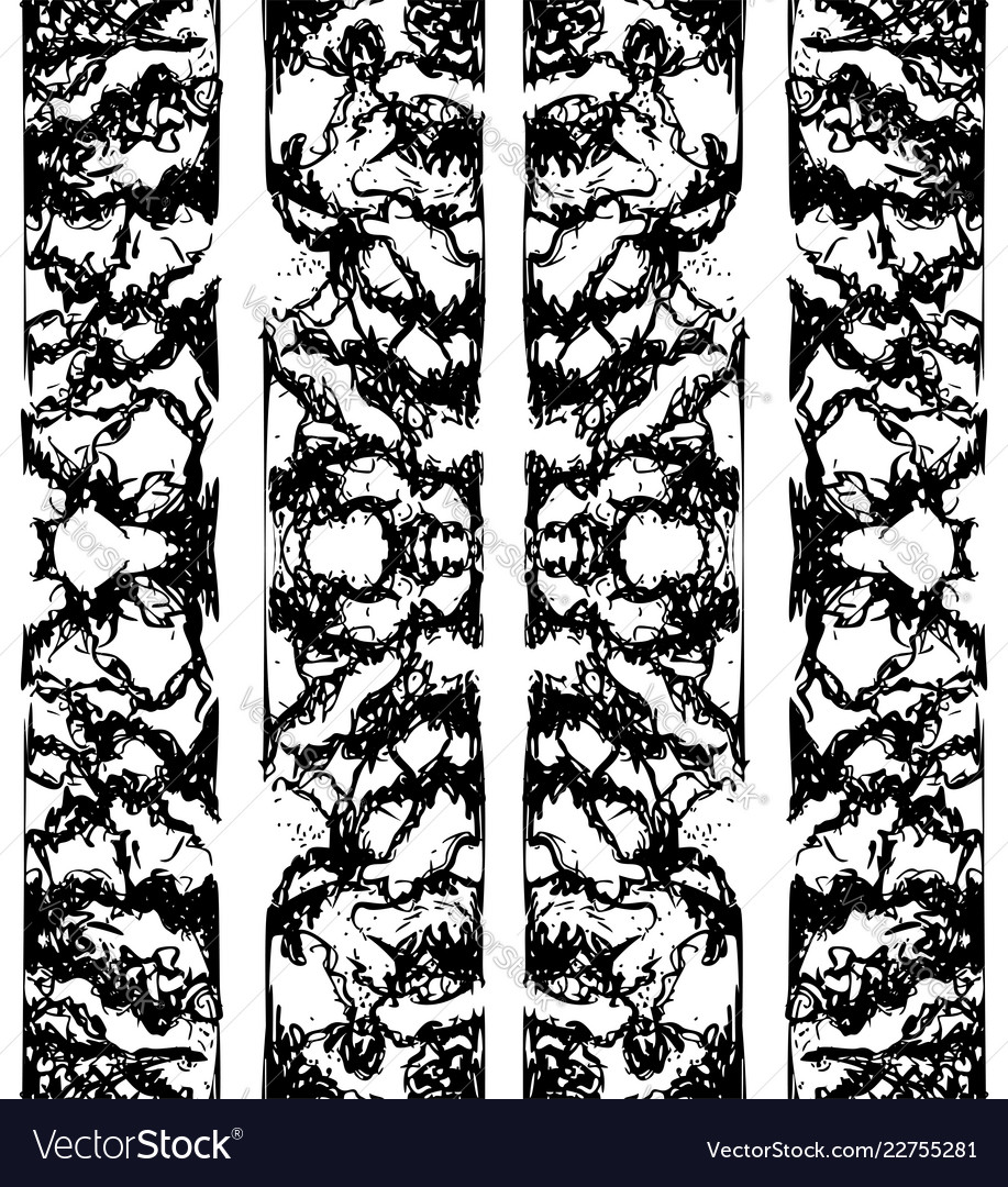 Abstract black and white ink seamless for print