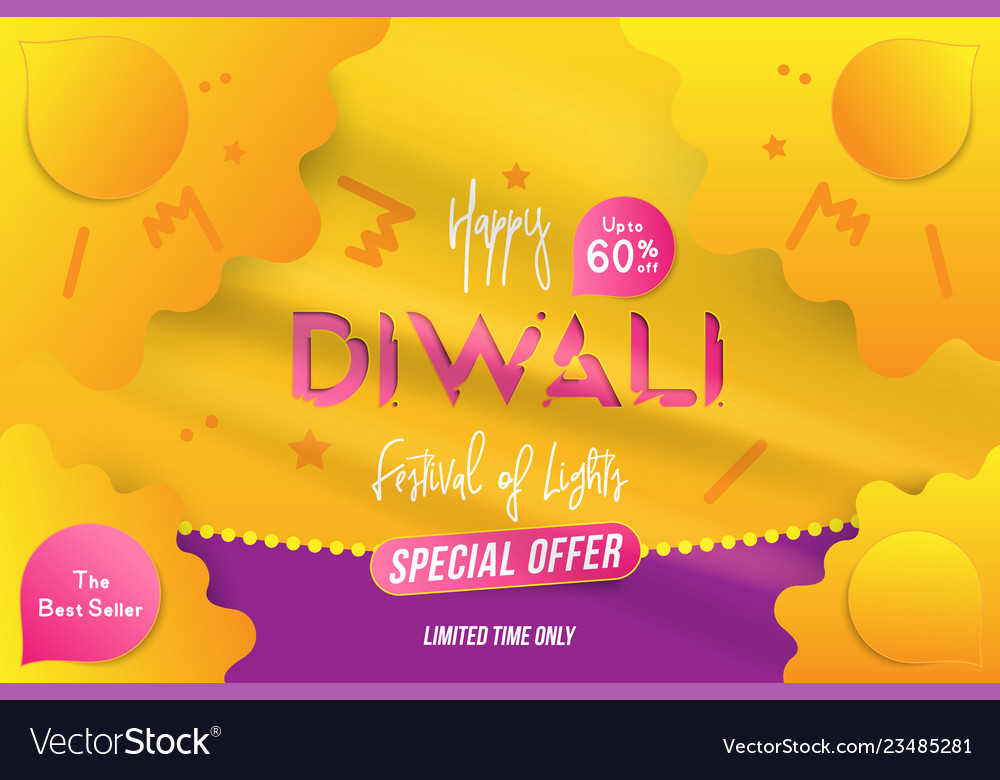 Banner diwali festival of lights with special