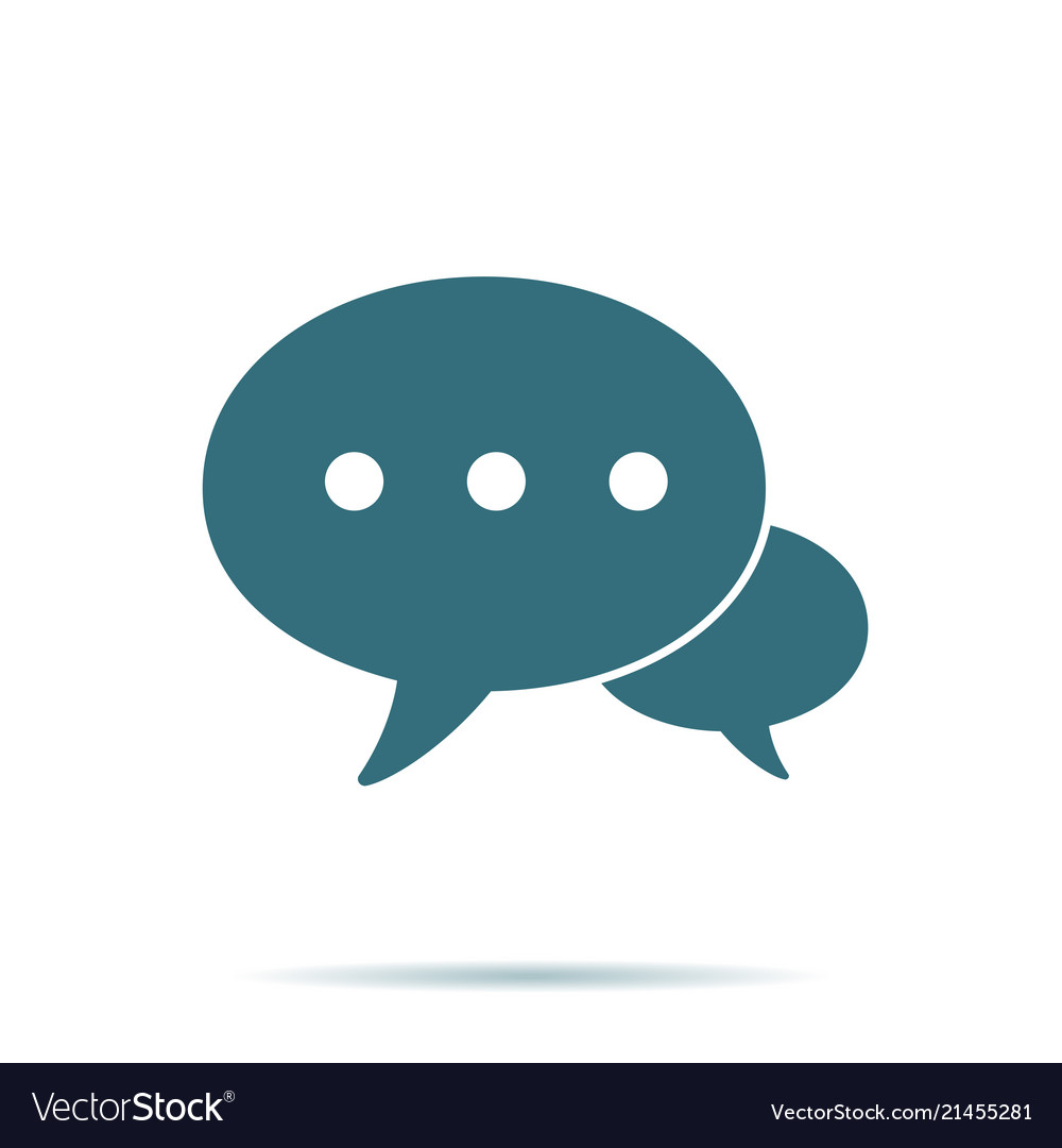 Blue speech bubble icon isolated modern contact u