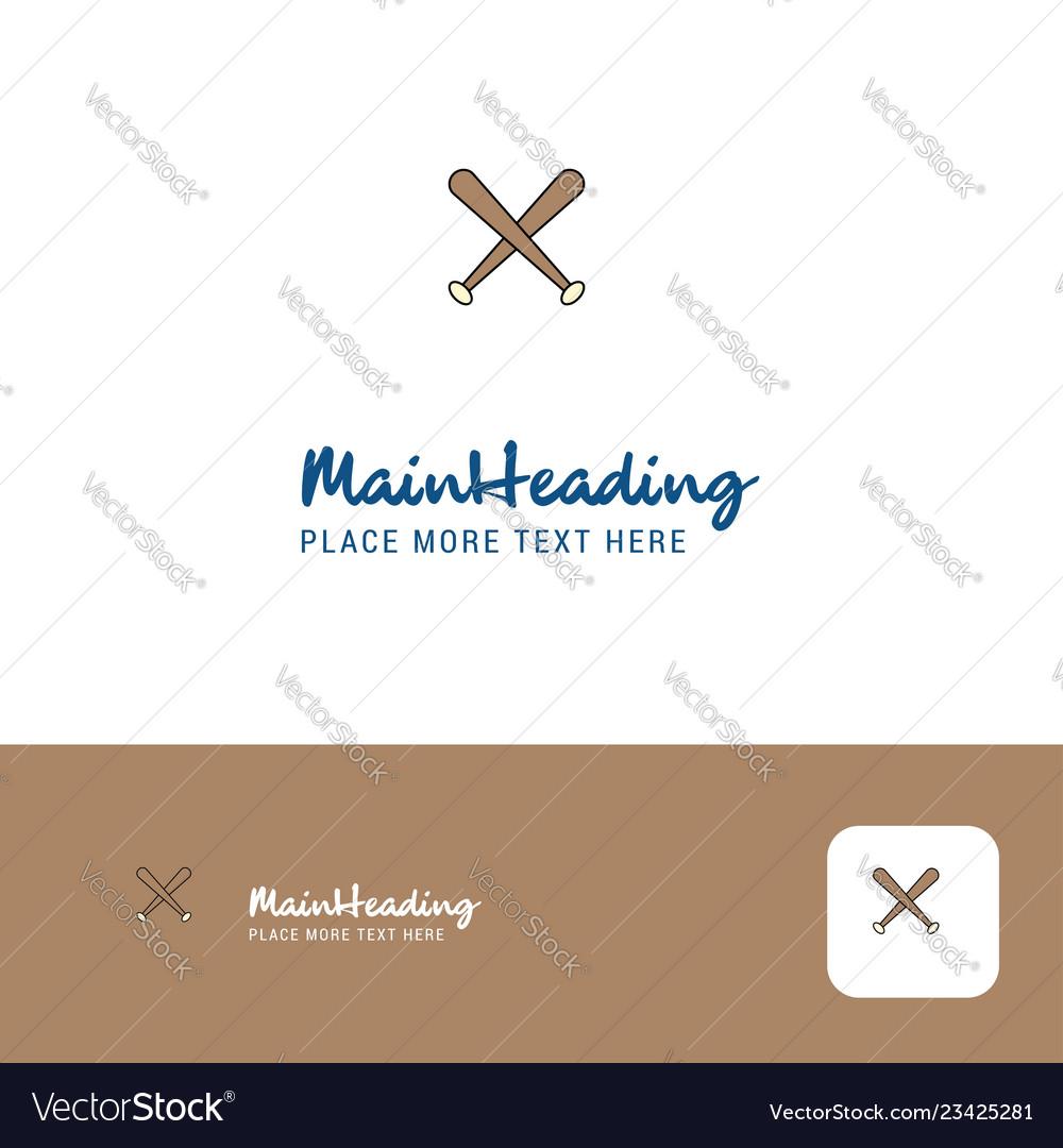 Creative baseball bat logo design flat color logo