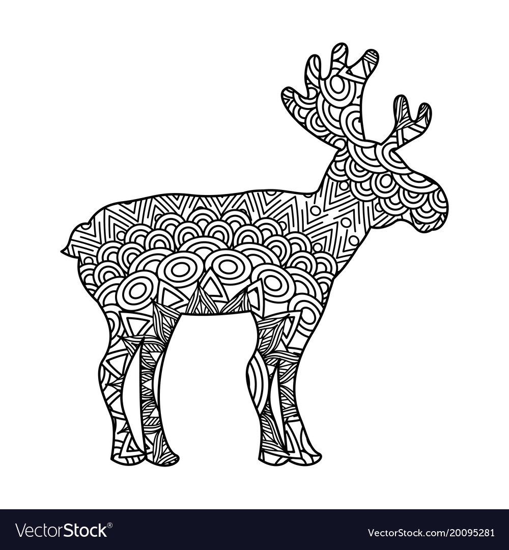 Drawing Zentangle For Deer Adult Coloring Page Vector Image