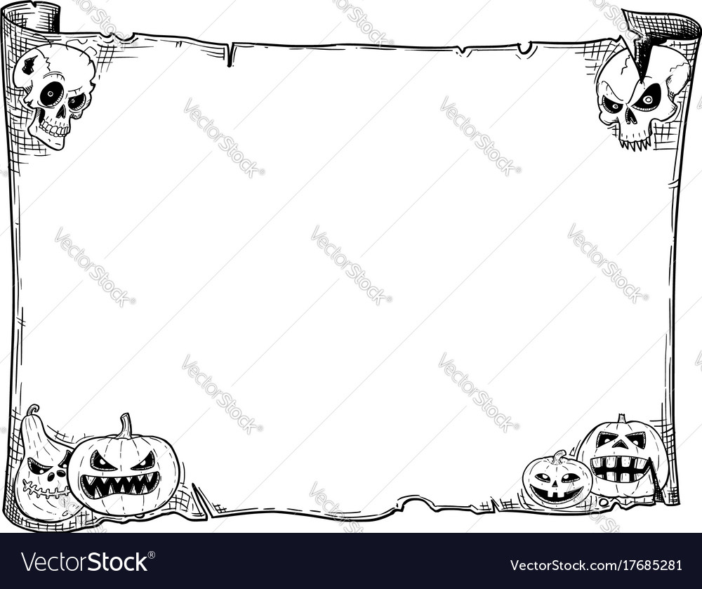 halloween frame old scroll sheet with skulls and vector image - Halloween Sheet