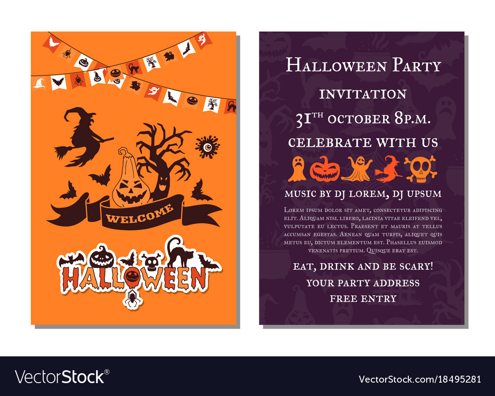 Halloween Party Invitation Card Template