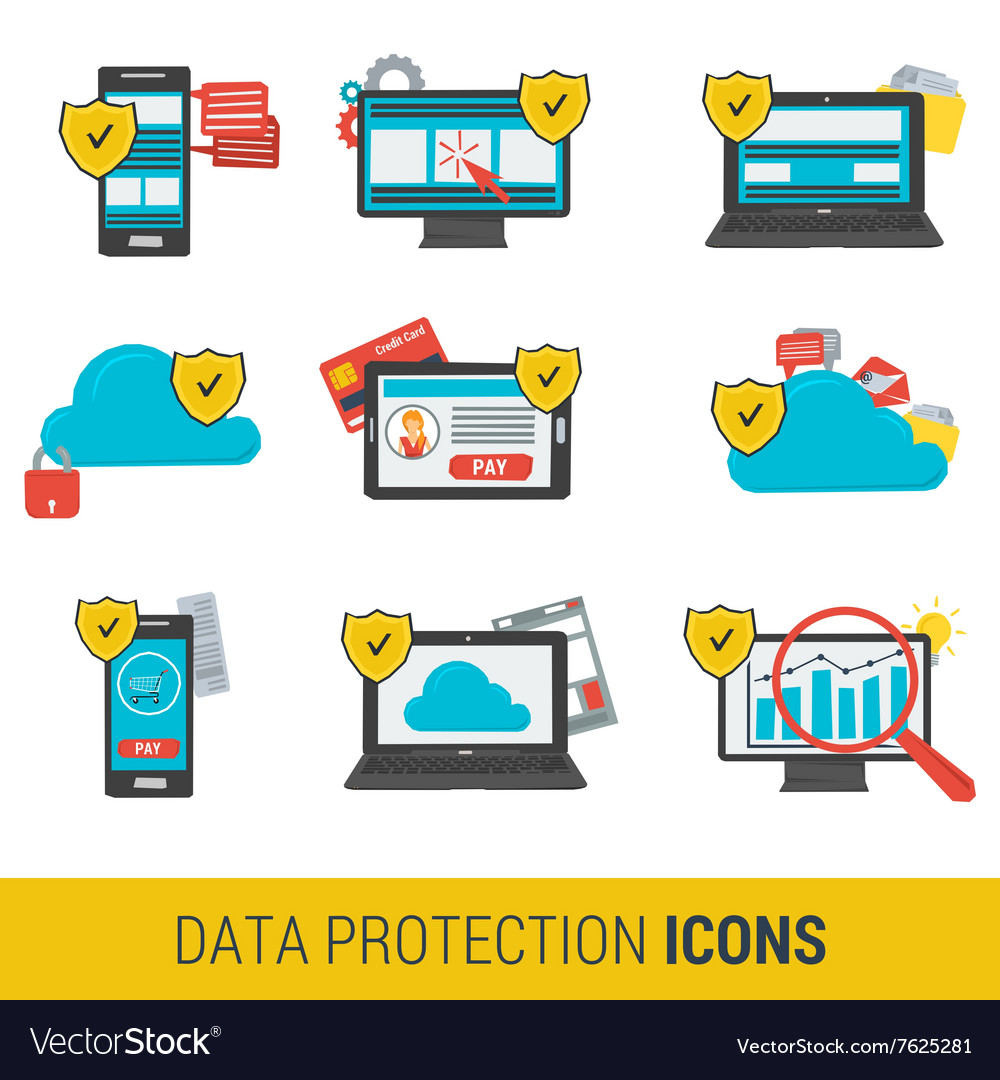 Icon set concept data protection