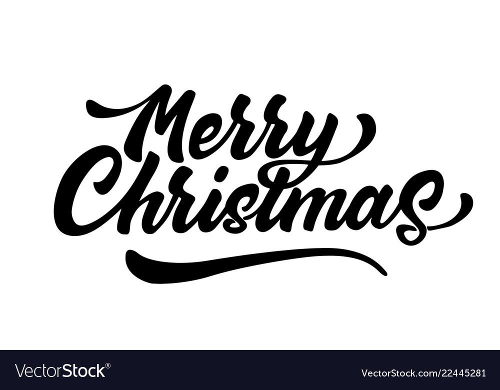 merry christmas lettering script ink sign vector image vectorstock