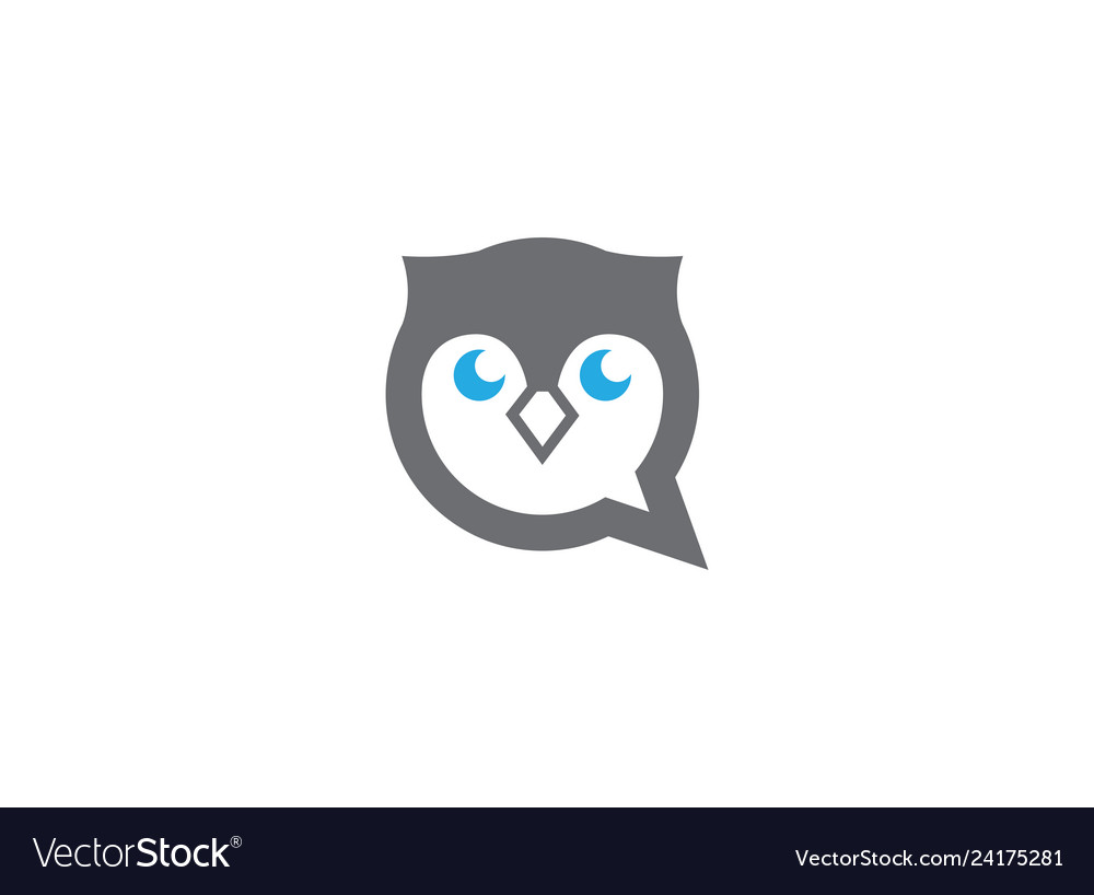 Owl head and face in a chat icon for logo design