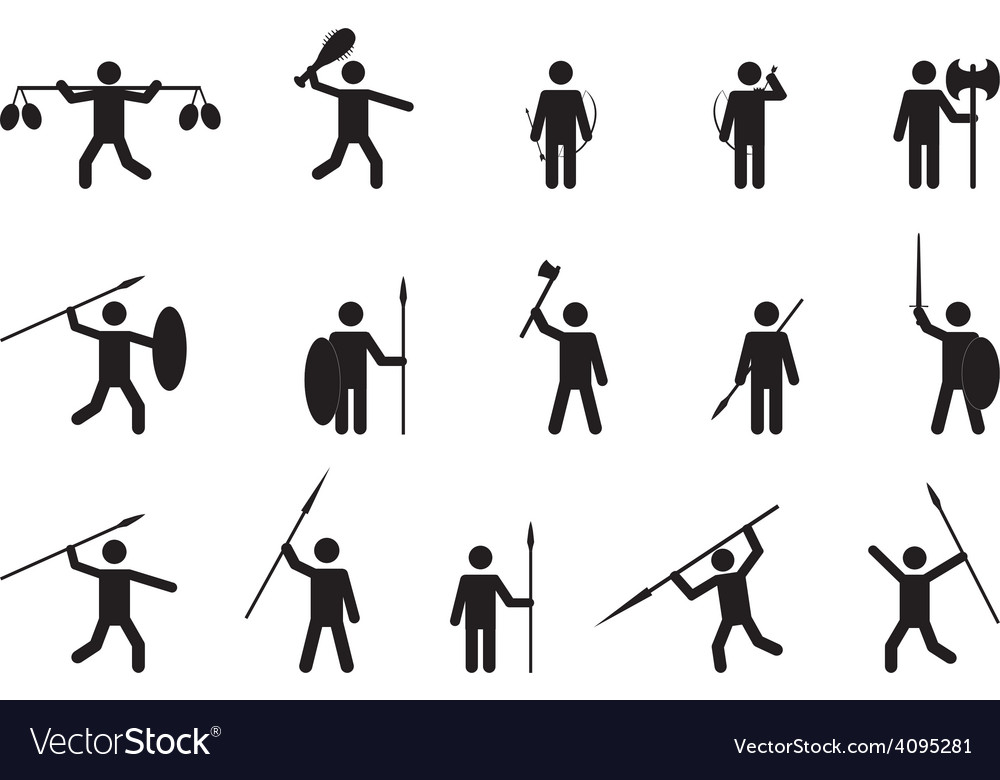 Primitive People With Weapons Royalty Free Vector Image