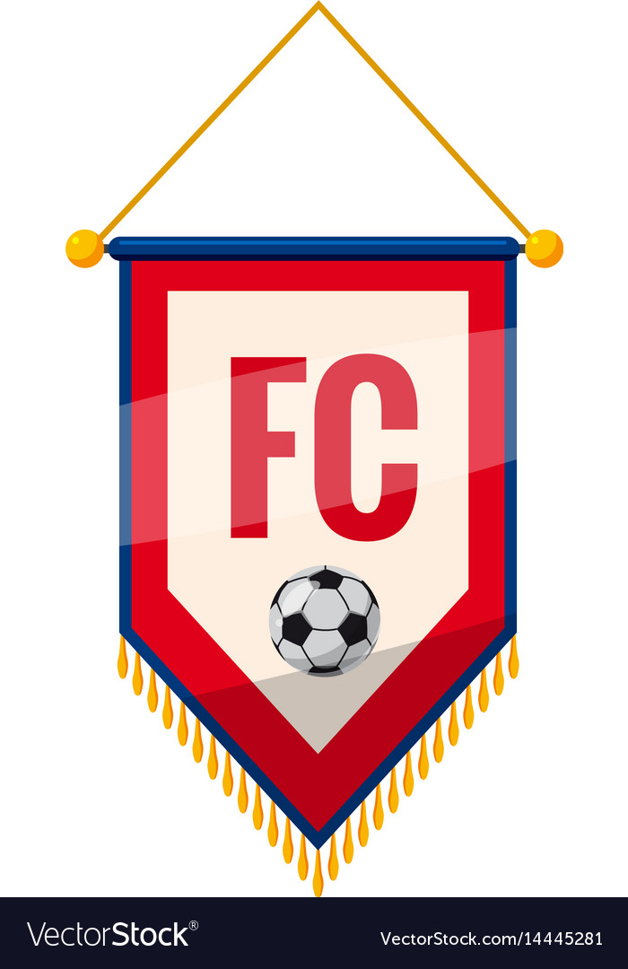 Red and white pennant with soccer ball icon vector image