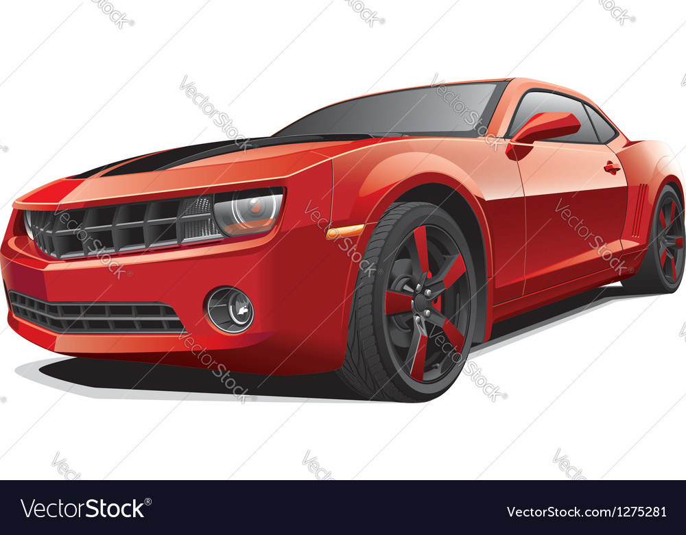 Red Muscle Car Royalty Free Vector Image Vectorstock