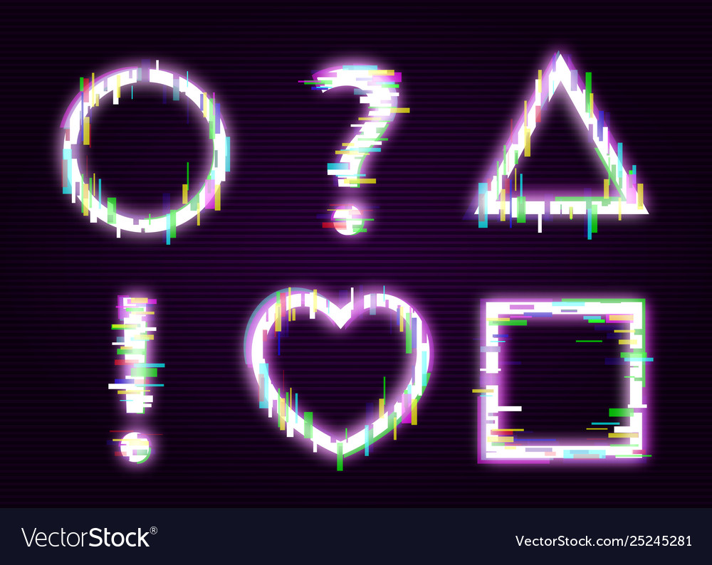 Set neon shapes with glitch effect abstract