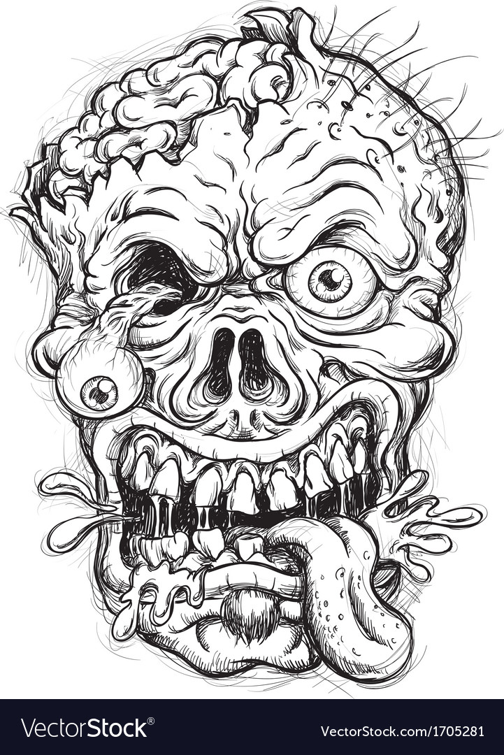 Sketchy Zombie Head vector image