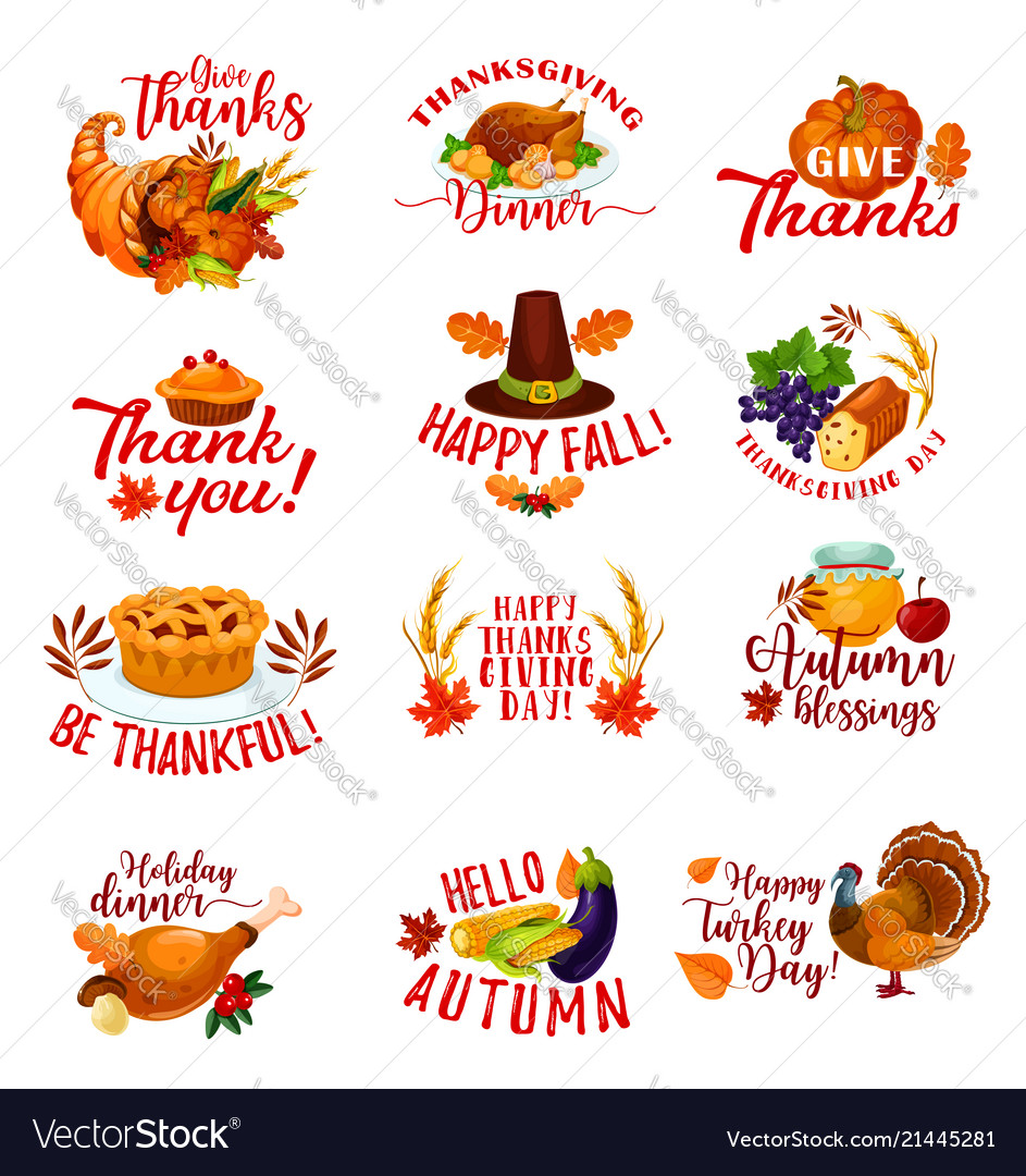 Thanksgiving day autumn holiday greeting cards vector image m4hsunfo