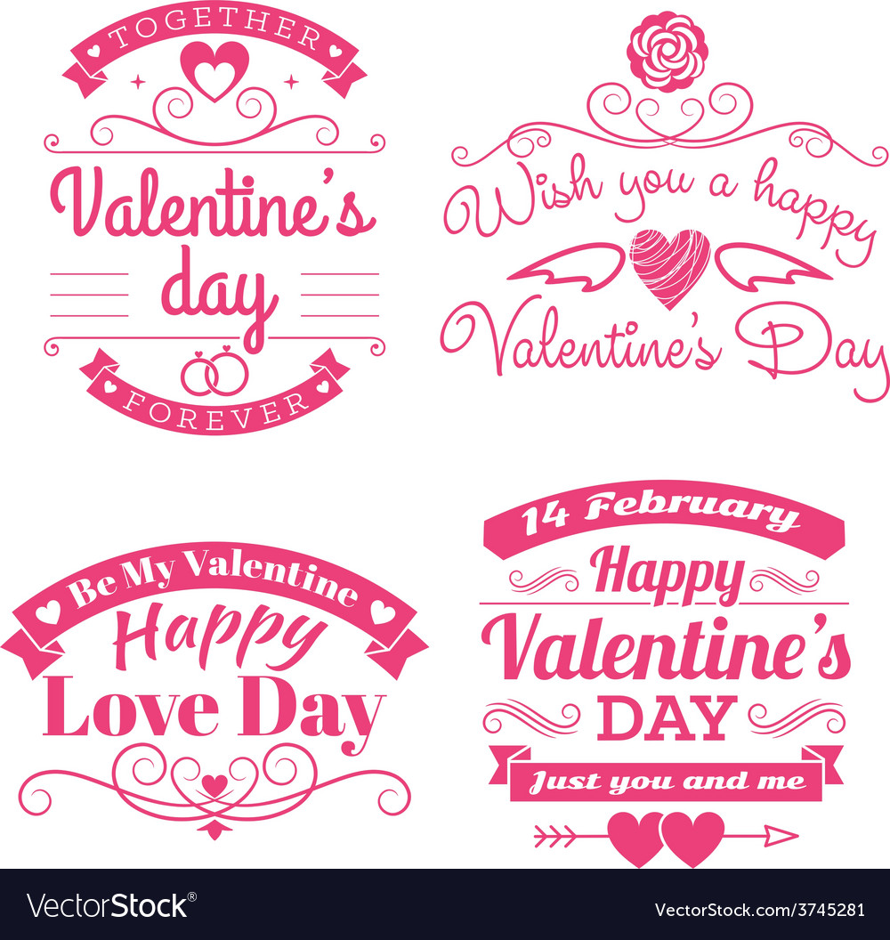 Valentines day set of label badges stamp and