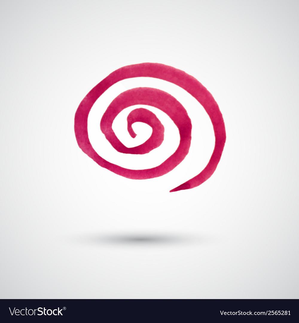Watercolor spiral design element vector image