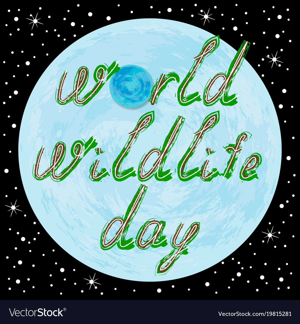 World wildlife day text and earth