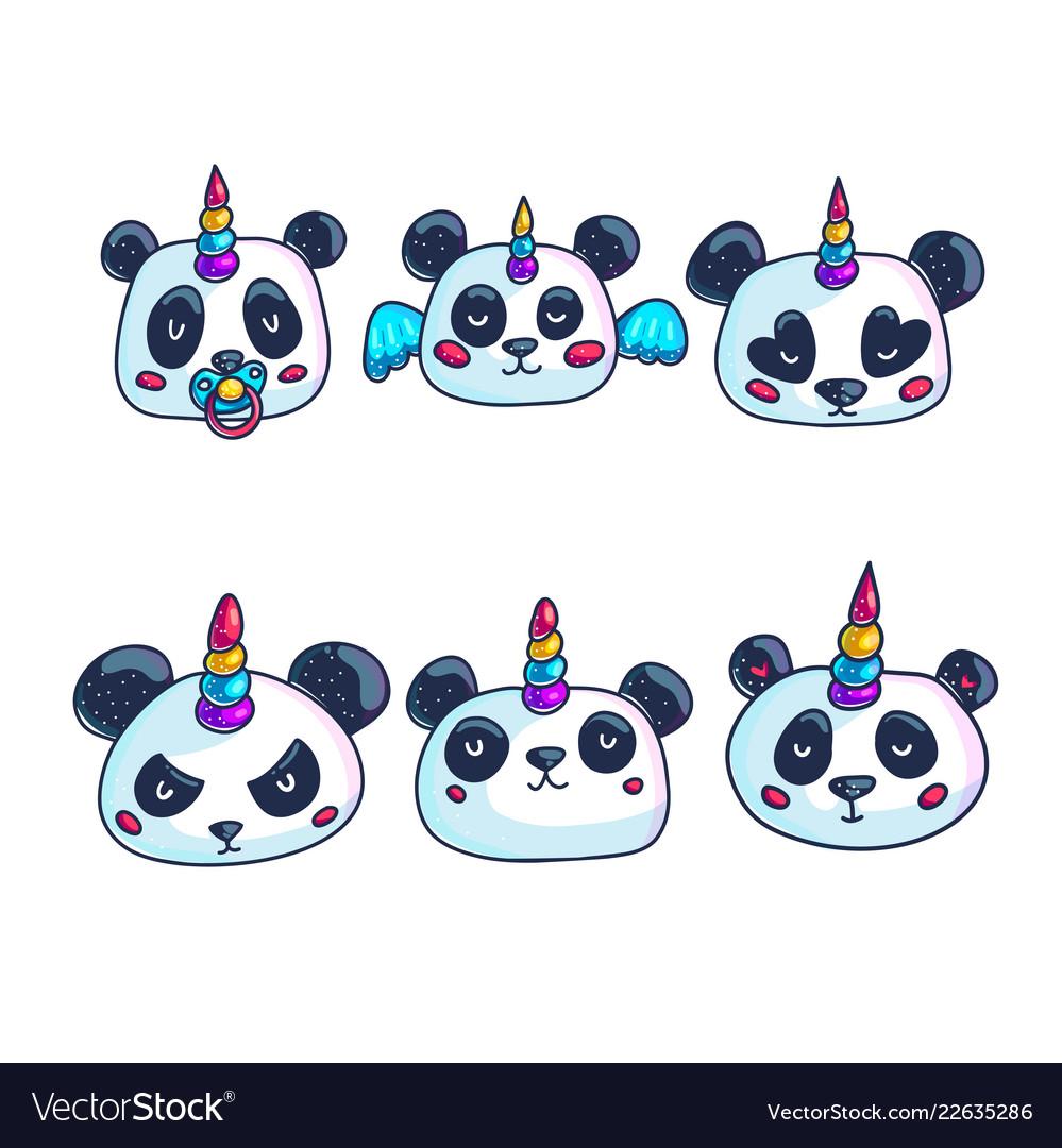 Cartoon unicorn panda with different emotions