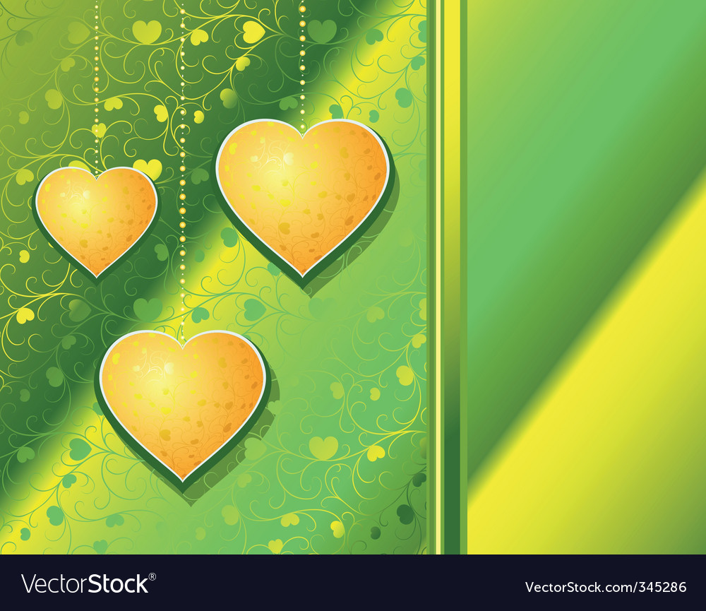 Hearts Yellow On A Green