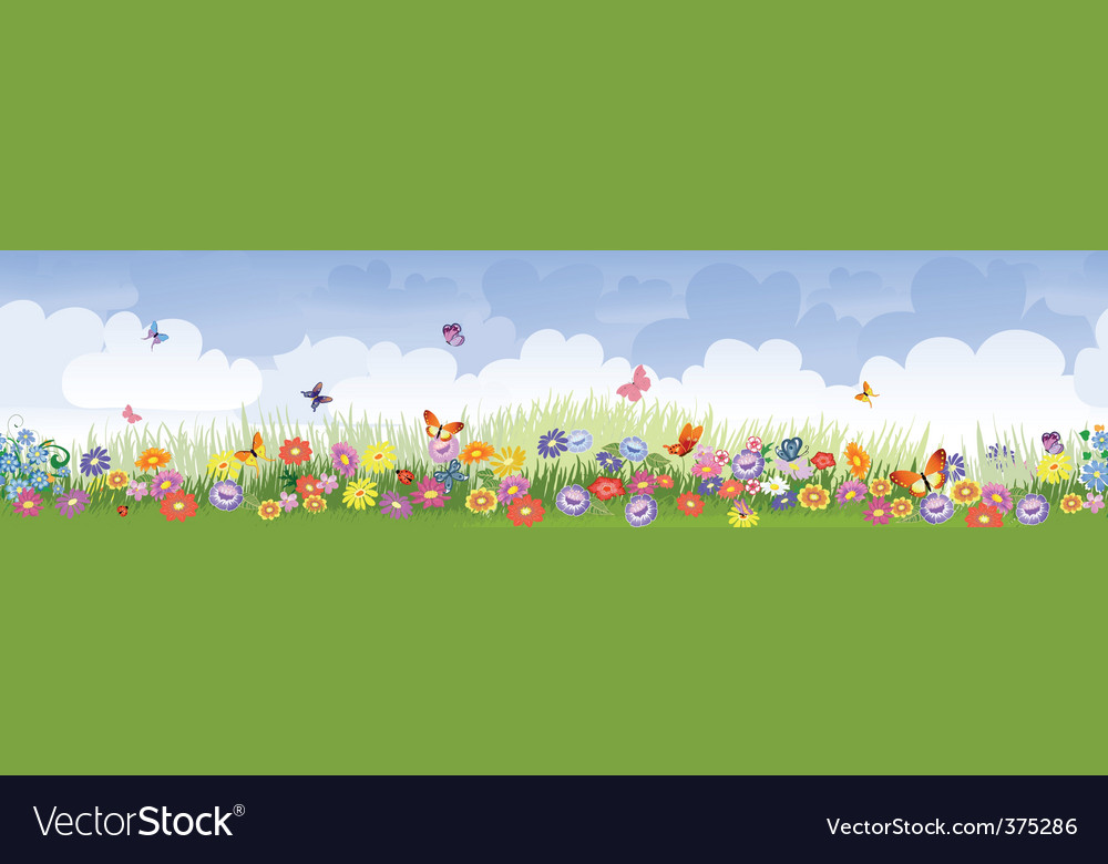Herbaceous border panorama vector image