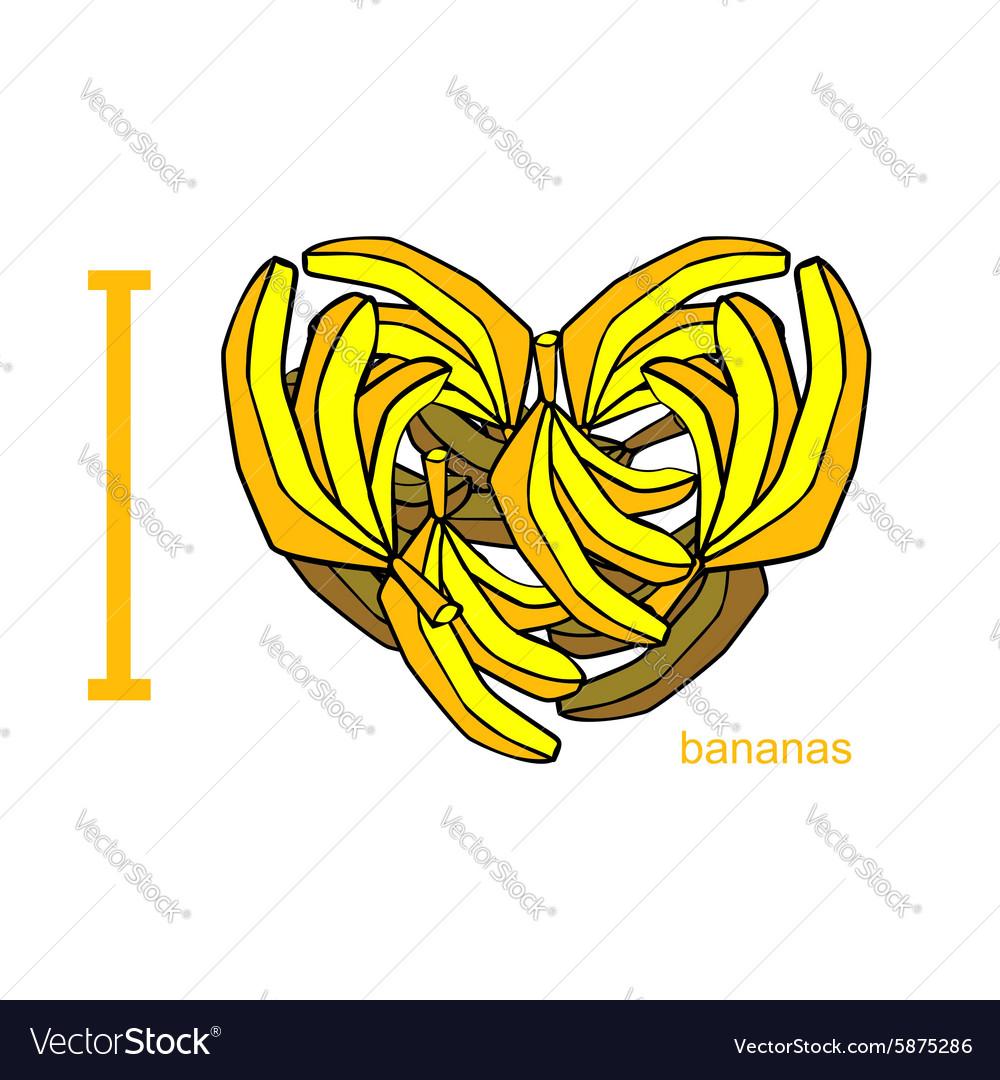 I love bananas Symbol of heart of bananas Tropical