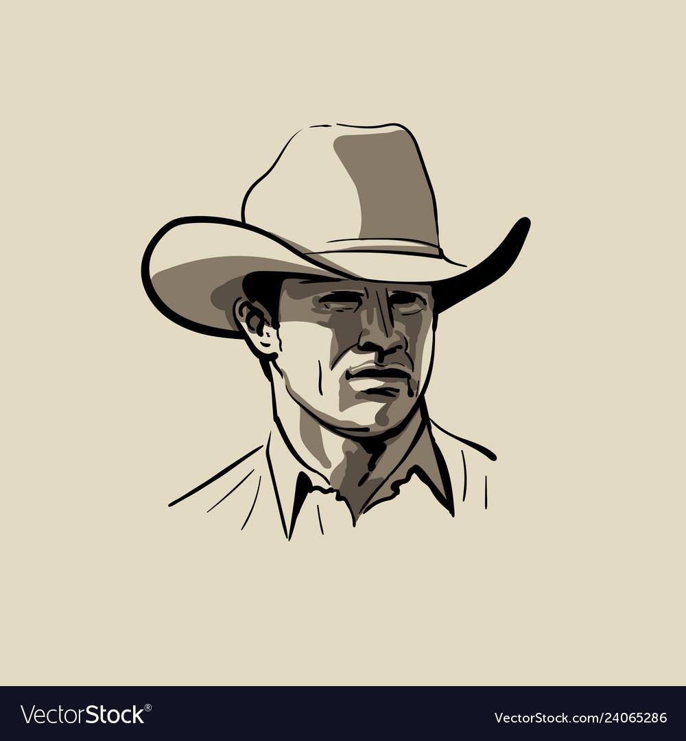 Man with cowboy hat western portrait digital