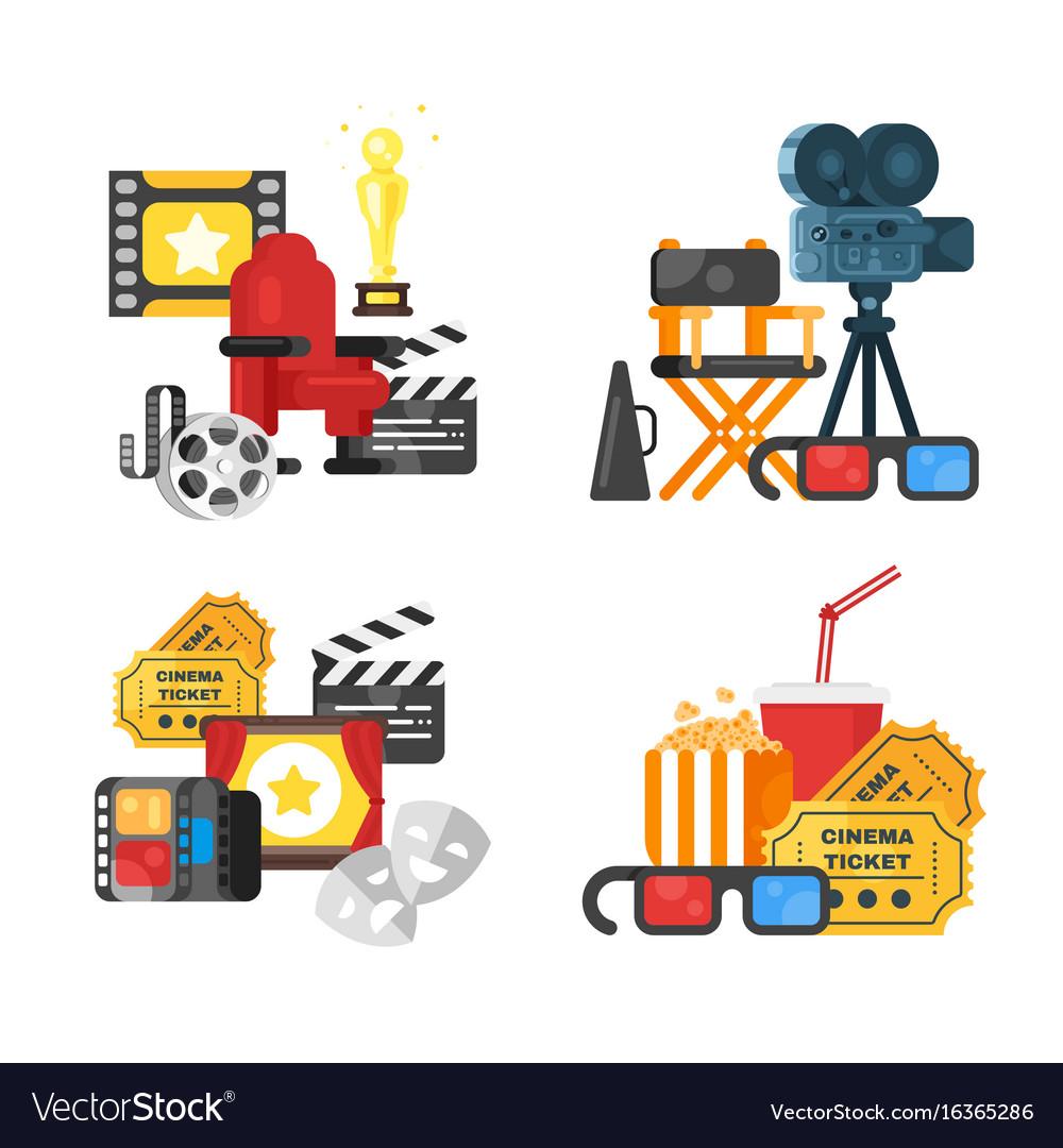 Movie design set of concept with cinema icons