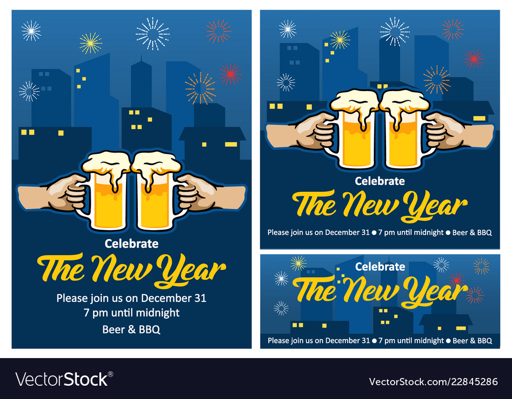 new year beer party invitation royalty free vector image