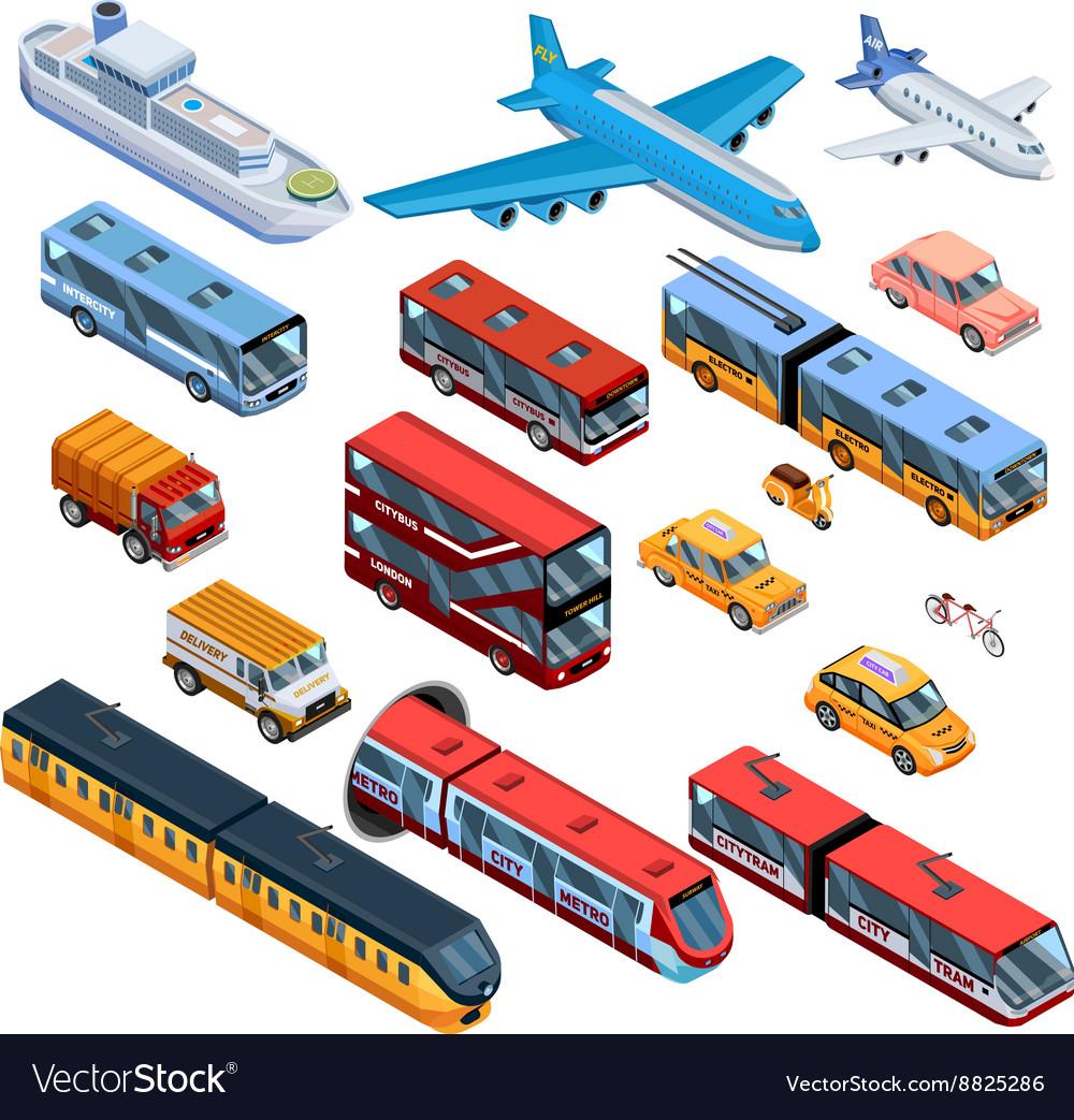 Passenger Transport Isometric Icons