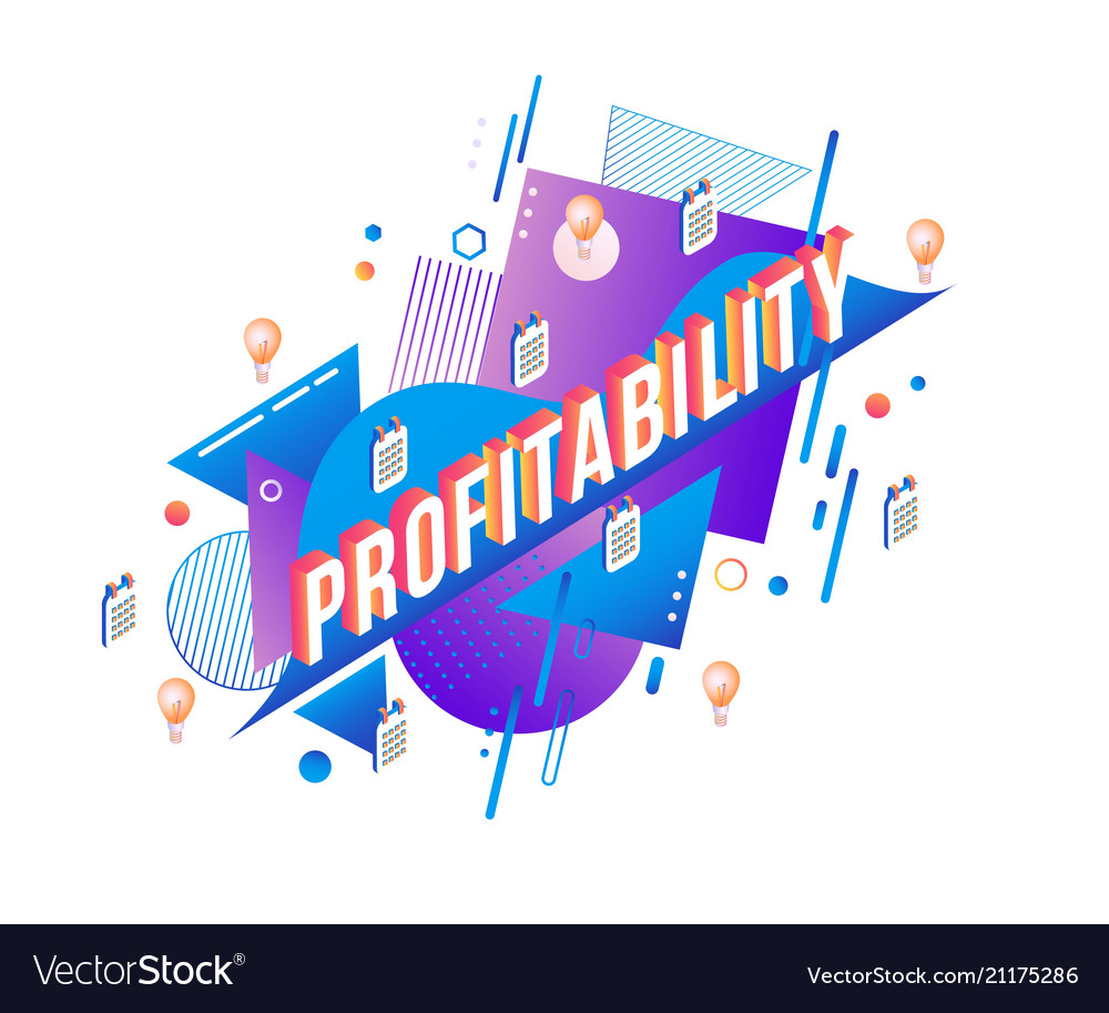 Profitability isometric text design on abstract