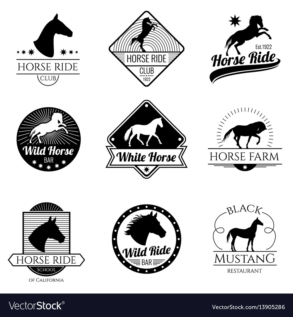 Racing Horse Running Mare Vintage Logos Royalty Free Vector
