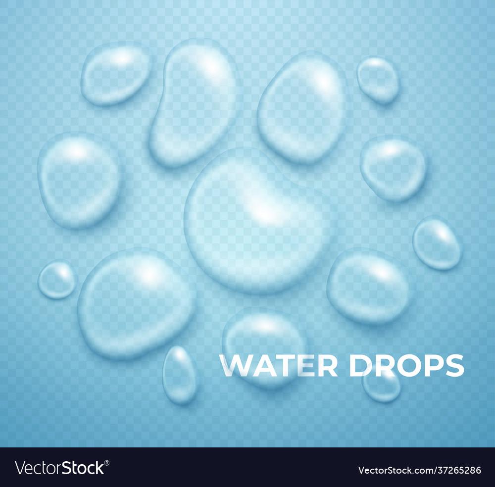 Realistic water drop pure transparent droplet