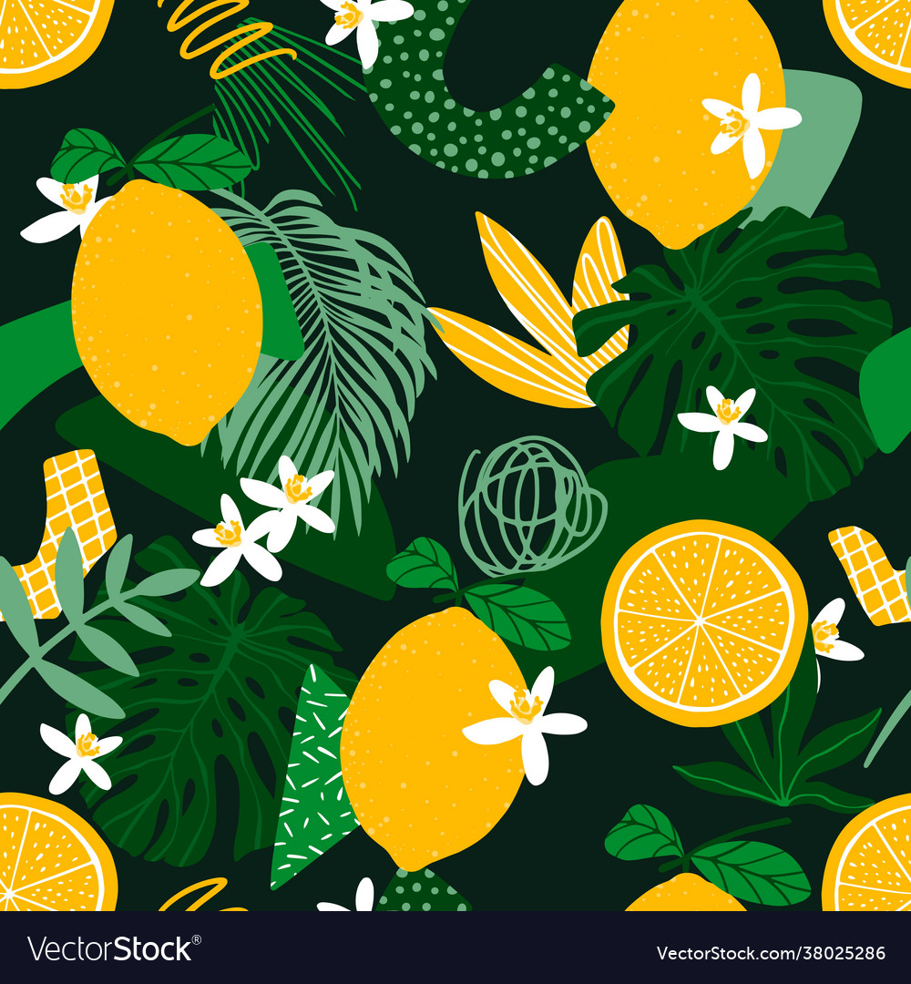 Seamless pattern with lemons exotic palm leaves