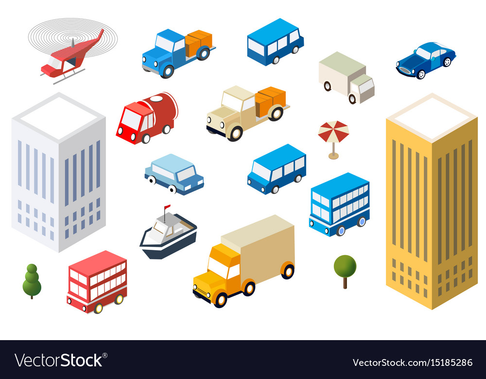 Set auto cars of different sizes multicolor vector image