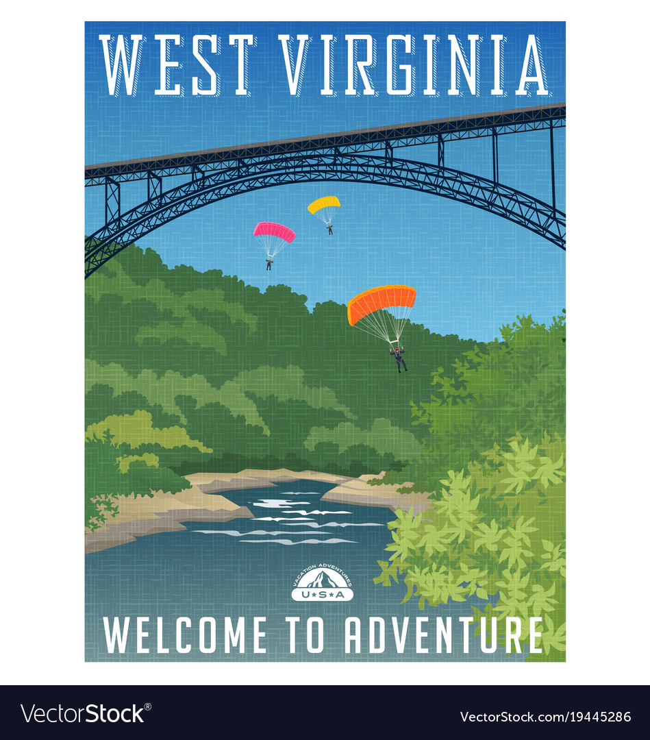 Travel poster or sticker west virginia