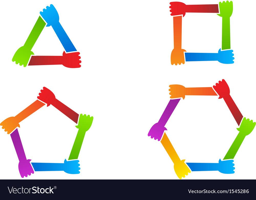 united hands conceptual symbol royalty free vector image rh vectorstock com Cupped Hands Vector Giving Hands Vector