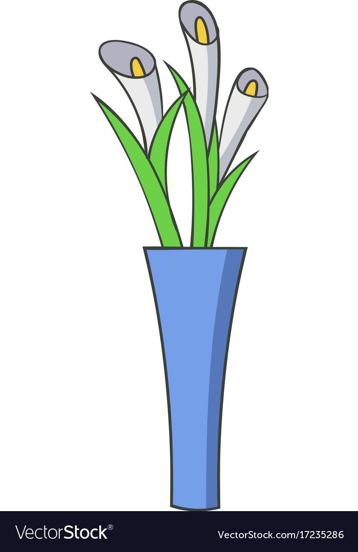 Vase Flowers Icon Cartoon Style Royalty Free Vector Image