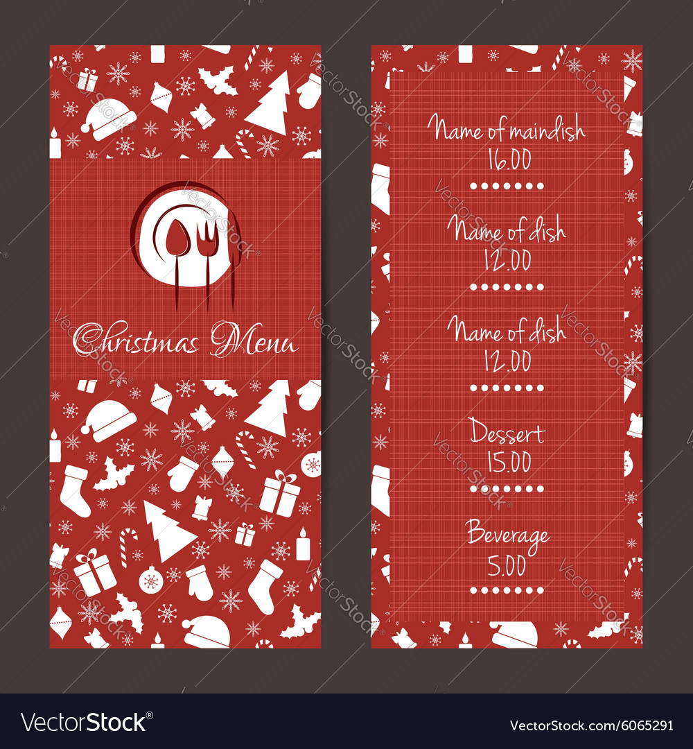 christmas festive menu design royalty free vector image