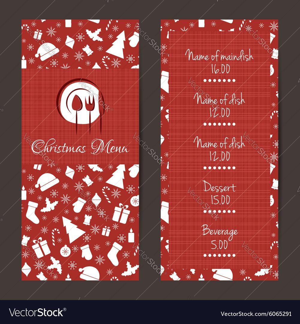 christmas festive menu design royalty free vector image